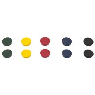 Magnesy BI-OFFICE, okrągłe, średnica 20mm, 10szt., mix kolorów, Bloki, magnesy, gąbki, spraye do tablic, Prezentacja