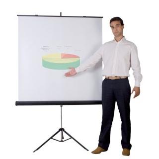 Ekran projekcyjny BI-OFFICE, na trójnogu, 1520x1520mm, biały, Ekrany, Prezentacja