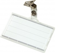 Name Badge Holder DONAU, with a clip, hard, clear