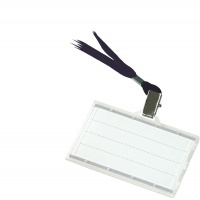 Name Badge Holder DONAU, with silk band, hard, black