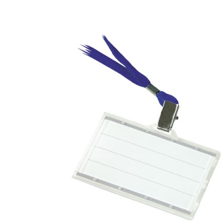 Identyfikator DONAU, z jedwabną taśmą, twardy, niebieski, Identyfikatory, Prezentacja