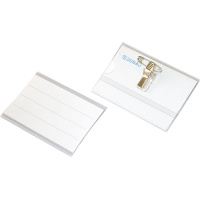 Name Badge Holder DONAU, with clamp attachment and a safety pin, side-opening, soft, clear