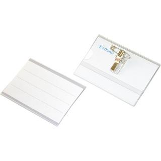 Identyfikator DONAU, z klipsem i agrafką, otwór z boku, miękki, transparentny, Identyfikatory, Prezentacja