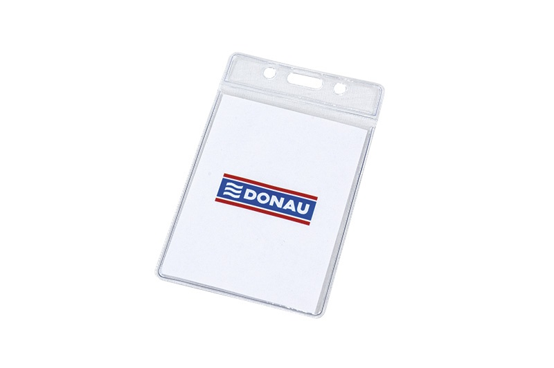 Name Badge DONAU, soft, side-opening, clear