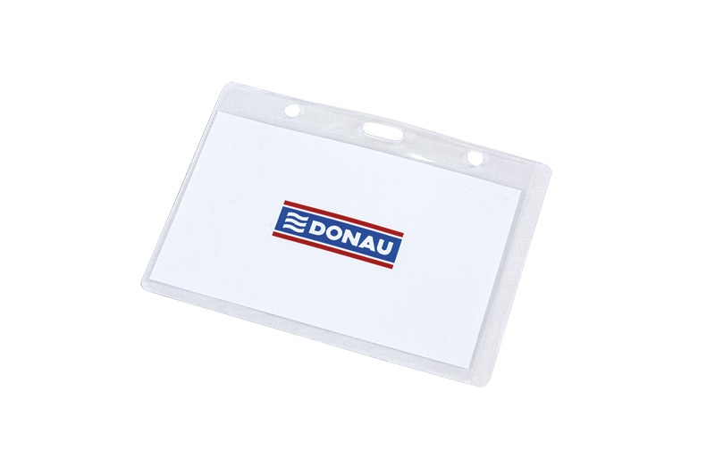 Name Badge Holder DONAU, soft, top-opening, clear