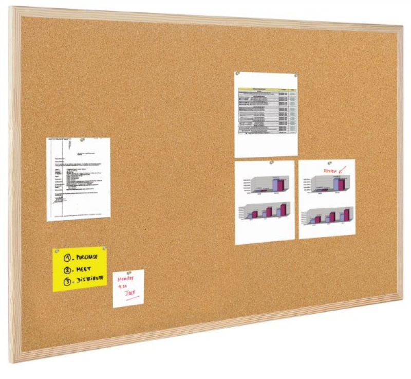 Cork Notice Board BI-OFFICE, 100x60cm, wood frame