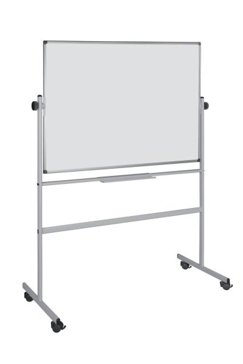 Dry-wipe&magnetic Notice Board, BI-OFFICE 150x120cm, rotable, mobile, lacquered, aluminium frame
