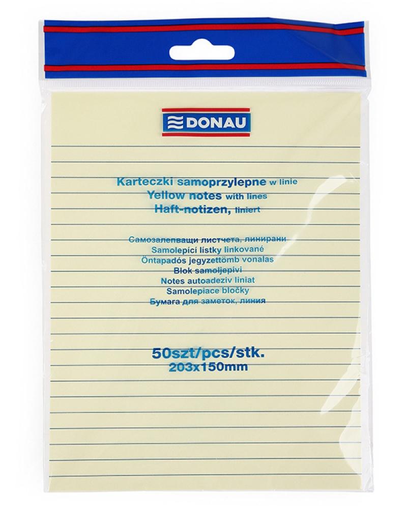 Self-adhesive Pad DONAU, 150x203mm, ruled, 1x50 sheets, 75gsm, yellow