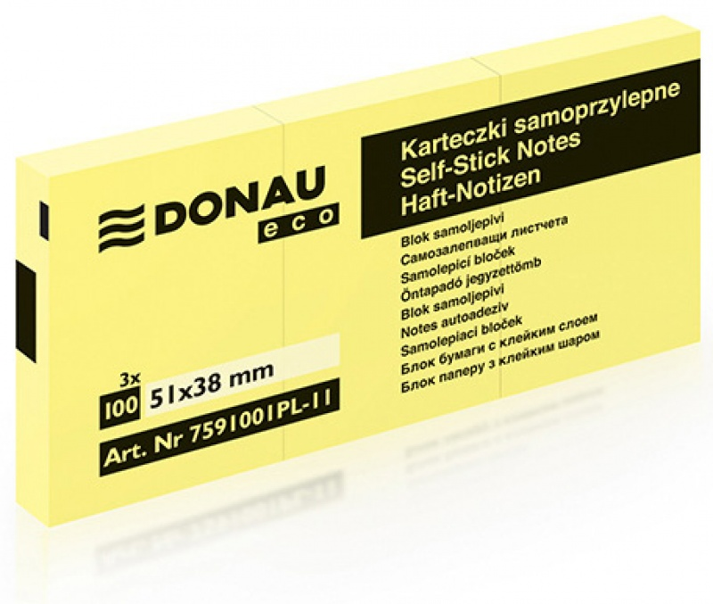 Self-adhesive Pad DONAU Eco, 38x51mm, 3x100 sheets, light yellow