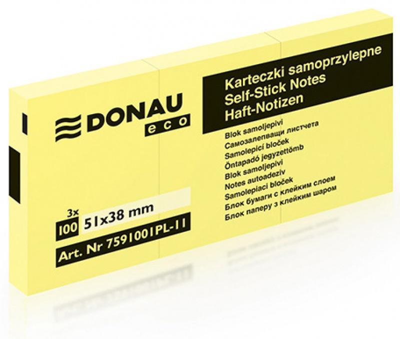 Bloczek samoprzylepny DONAU Eco, 38x51mm, 1x100 kart., jasnożółty, Bloczki samoprzylepne, Papier i etykiety