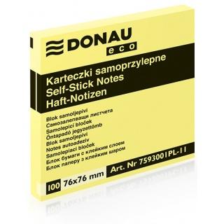Bloczek samoprzylepny DONAU Eco, 76x76mm, 1x100 kart., jasnożółty, Bloczki samoprzylepne, Papier i etykiety