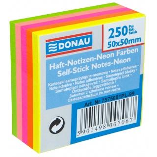 Mini Kostka samoprzylepna DONAU, 50x50mm, 1x250 kart., neonowa