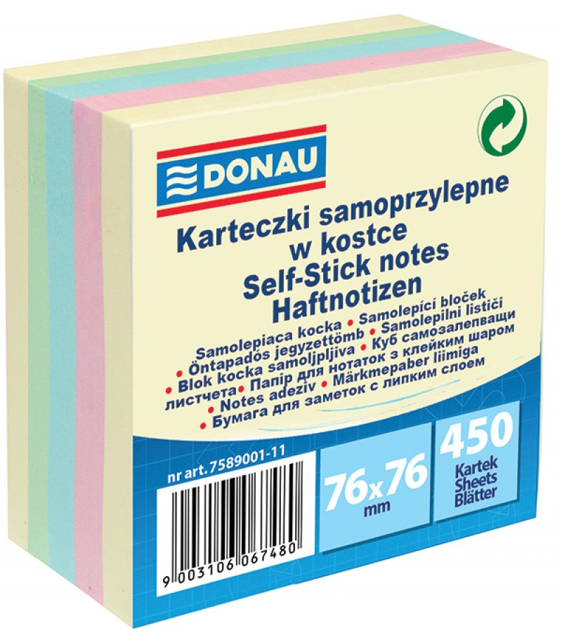 Self-adhesive Cube DONAU, 76x76mm, 1x450 sheets, pastel
