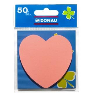 Bloczek samoprzylepny DONAU, 1x50 kart., serduszko, jasnoróżowy