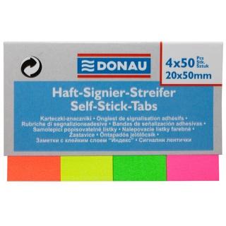 Zakładki indeksujące DONAU, papier, 20x50mm, 4x50 kart., mix kolorów, Bloczki samoprzylepne, Papier i etykiety