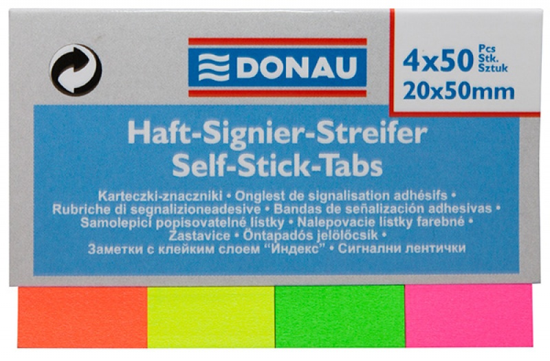 Filing Index Tabs DONAU, paper, 20x50mm, 4x50 tabs, assorted colours