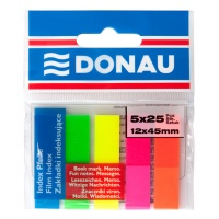 Filing Index Tabs DONAU, PP, 12x45mm, 5x25 tabs, assorted colours