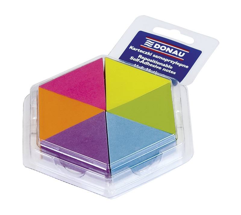 Self-adhesive Pad DONAU, triangle notepad, 43x50mm, 6x150 sheets, neon