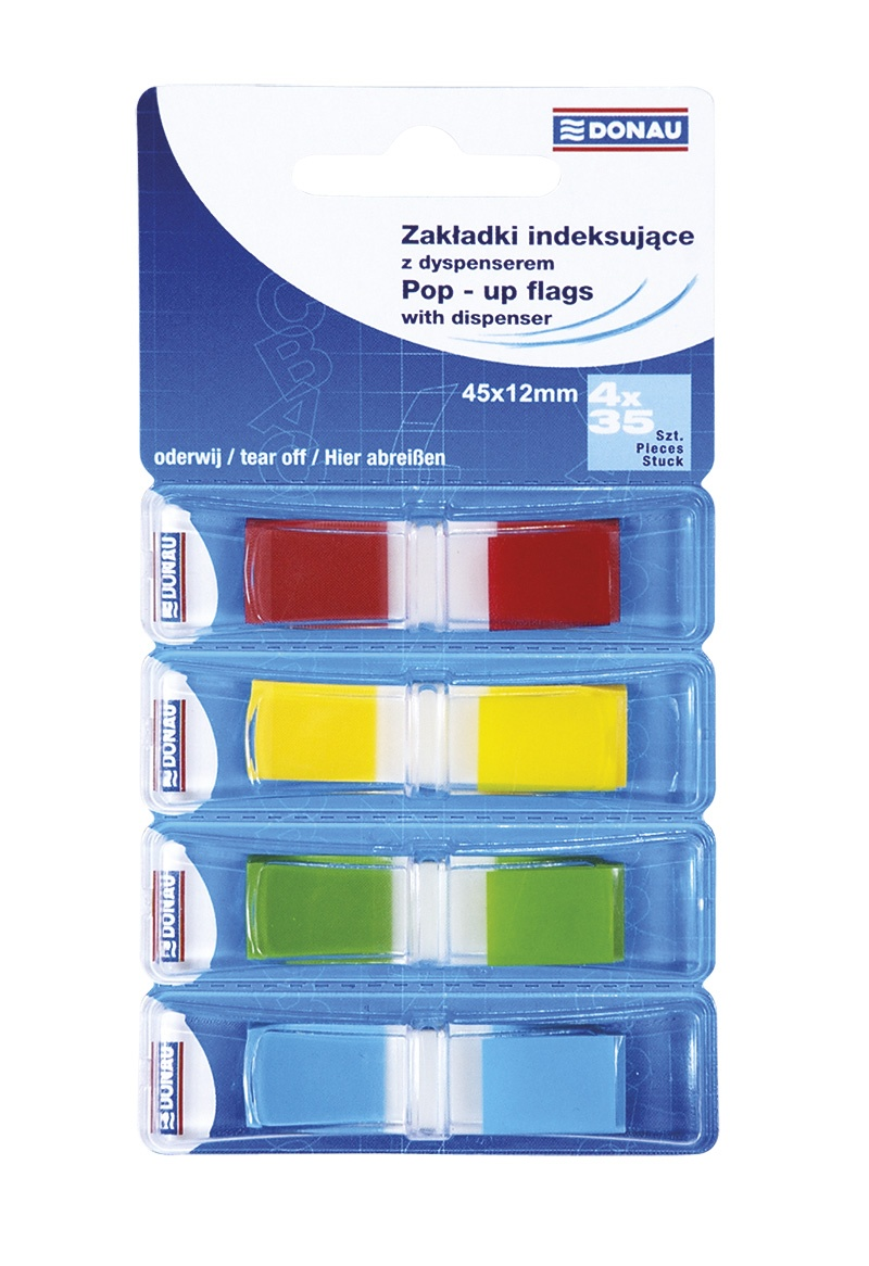 Filing Index Tabs PP 12x45mm 4x35 tabs assorted colours
