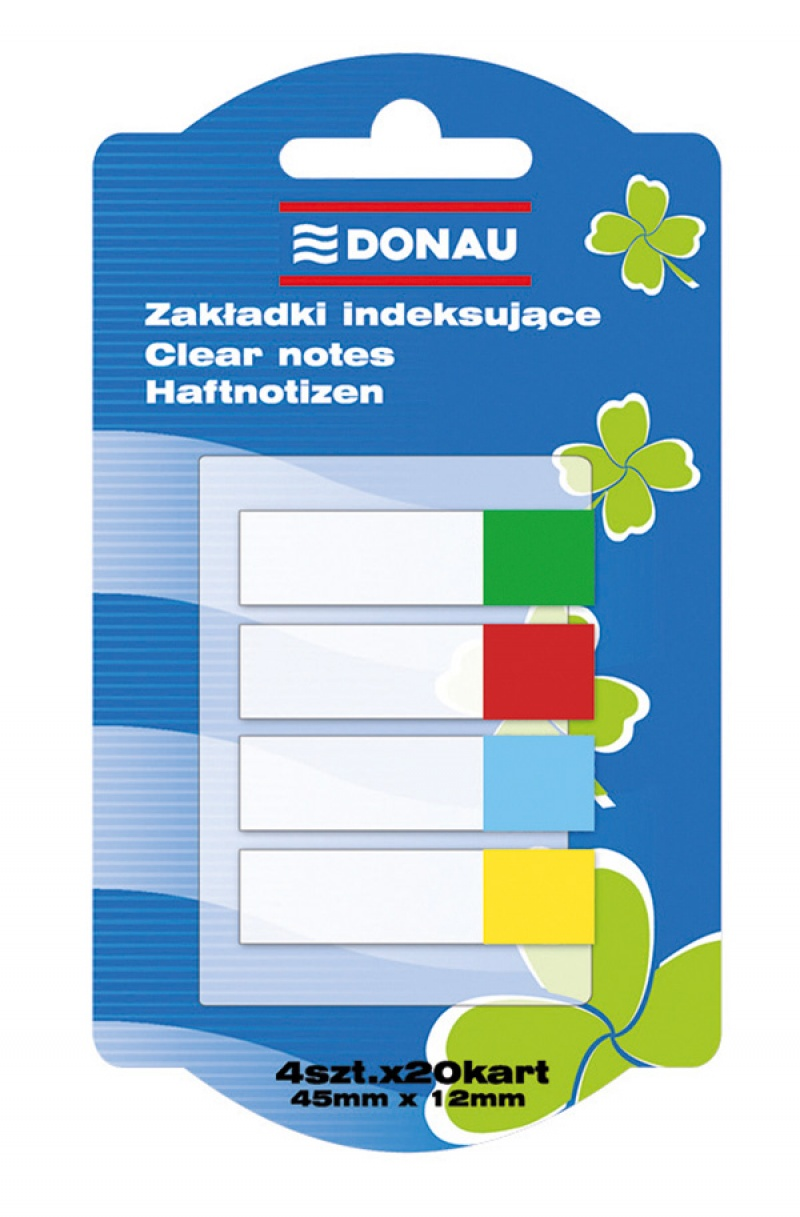 Filing Index Tabs DONAU, PP, 12x45mm, 4x20 tabs, assorted colours