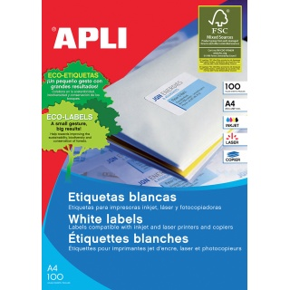 Etykiety uniwersalne APLI, 97x42,4mm, prostokątne, białe 100 ark., Etykiety samoprzylepne, Papier i etykiety