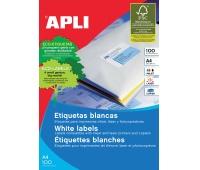 Etykiety uniwersalne APLI, 38x21,2mm, prostokątne, białe 100 ark., Etykiety samoprzylepne, Papier i etykiety