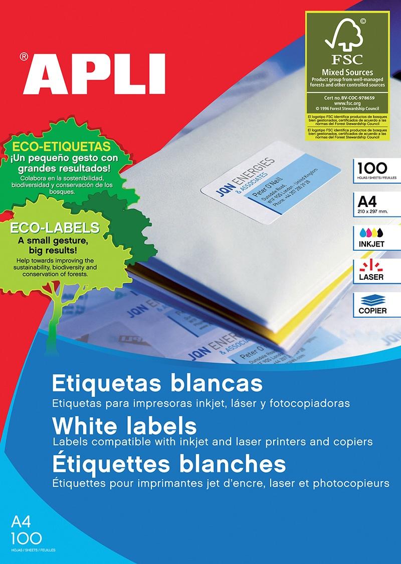 Etykiety uniwersalne APLI, 199,6x289,1mm, zaokrąglone, białe 100 ark., Etykiety samoprzylepne, Papier i etykiety
