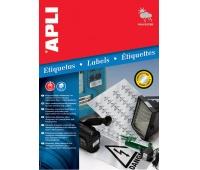 Etykiety poliestrowe APLI, 45,7x21,2mm, zaokrąglone, srebrne, 20 ark., Etykiety samoprzylepne, Papier i etykiety