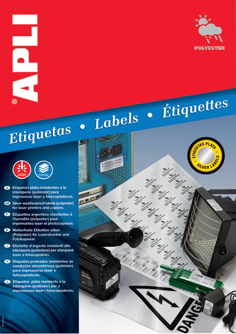 Etykiety poliestrowe APLI, 63,5x29,6mm, zaokrąglone, srebrne, 20 ark., Etykiety samoprzylepne, Papier i etykiety