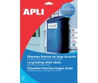Etykiety poliestrowe APLI, 105x148mm, prostokątne, białe 20 ark., Etykiety samoprzylepne, Papier i etykiety