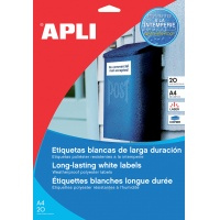 Polyester Labels APLI, 210x297mm, rectangle, white, 20 sheets