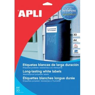 Etykiety poliestrowe APLI, 210x297mm, prostokątne, białe 20 ark., Etykiety samoprzylepne, Papier i etykiety
