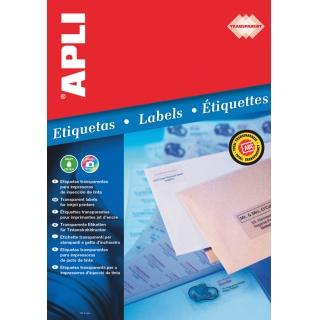 Etykiety poliestrowe APLI, 70x37mm, prostokątne, transparentne 10 ark., Etykiety samoprzylepne, Papier i etykiety