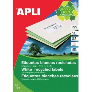 Etykiety ekologiczne APLI, 105x37mm, prostokątne, białe, Etykiety samoprzylepne, Papier i etykiety