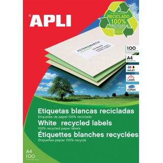 Etykiety ekologiczne APLI, 105x148mm, prostokątne, białe, Etykiety samoprzylepne, Papier i etykiety