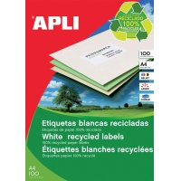 Eco-friendly Labels APLI, 210x148mm, rectangle, white