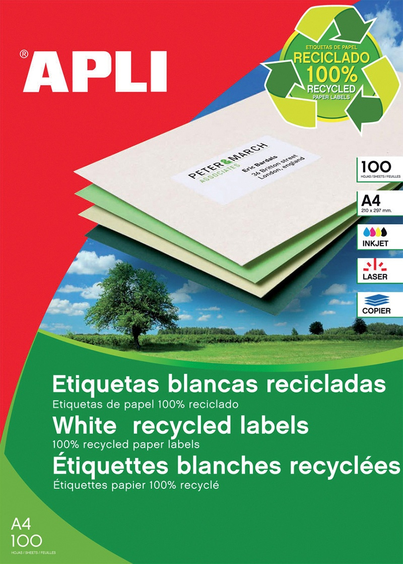 Eco-friendly Labels 210x297mm rectangle white