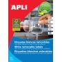 Etykiety usuwalne APLI, 48,5x25,4mm, prostokątne, białe