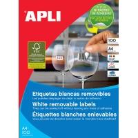 Etykiety usuwalne APLI, 64, 6x33, 8mm, prostokątne, białe