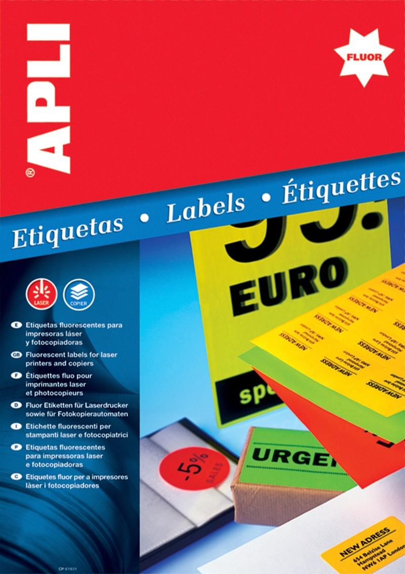 Etykiety fluorescencyjne APLI, 64x33,9mm, zaokrąglone, żółte, Etykiety samoprzylepne, Papier i etykiety
