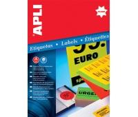 Etykiety fluorescencyjne APLI, 210x297mm, prostokątne, żółte, Etykiety samoprzylepne, Papier i etykiety