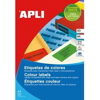 Etykiety kolorowe APLI, 210x297mm, prostokątne, żółte, 20 ark., Etykiety samoprzylepne, Papier i etykiety