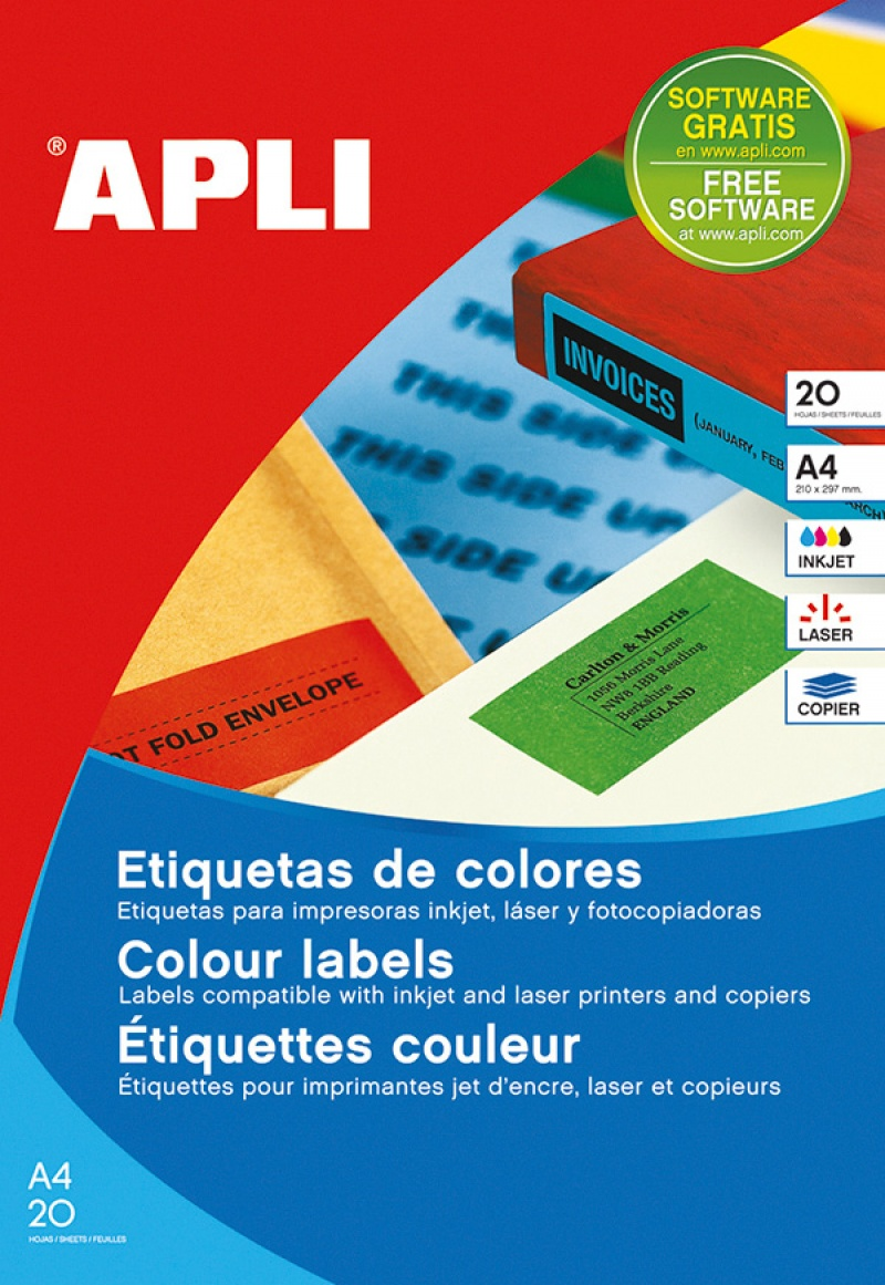 Coloured Labels APLI, 210x297mm, rectangle, red, 20 sheets