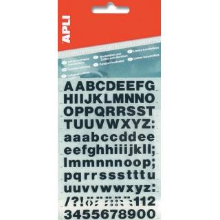 Litery samoprzylepne APLI, 20mm, czarne, Etykiety samoprzylepne, Papier i etykiety