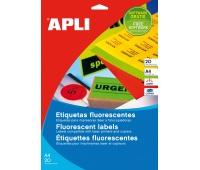 Etykiety fluorescencyjne APLI, 210x297mm, prostokątne, zielone, Etykiety samoprzylepne, Papier i etykiety