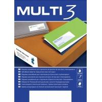 Etykiety uniwersalne MULTI 3, 52,5x21,5mm, prostokątne, białe 100 ark., Etykiety samoprzylepne, Papier i etykiety
