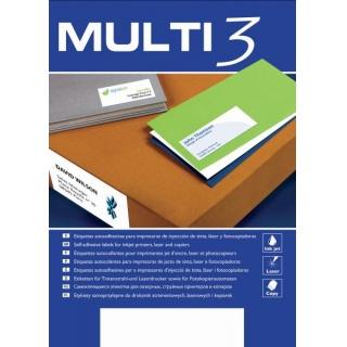 Etykiety uniwersalne MULTI 3, 64,6x33,8mm, prostokątne, białe 100 ark., Etykiety samoprzylepne, Papier i etykiety