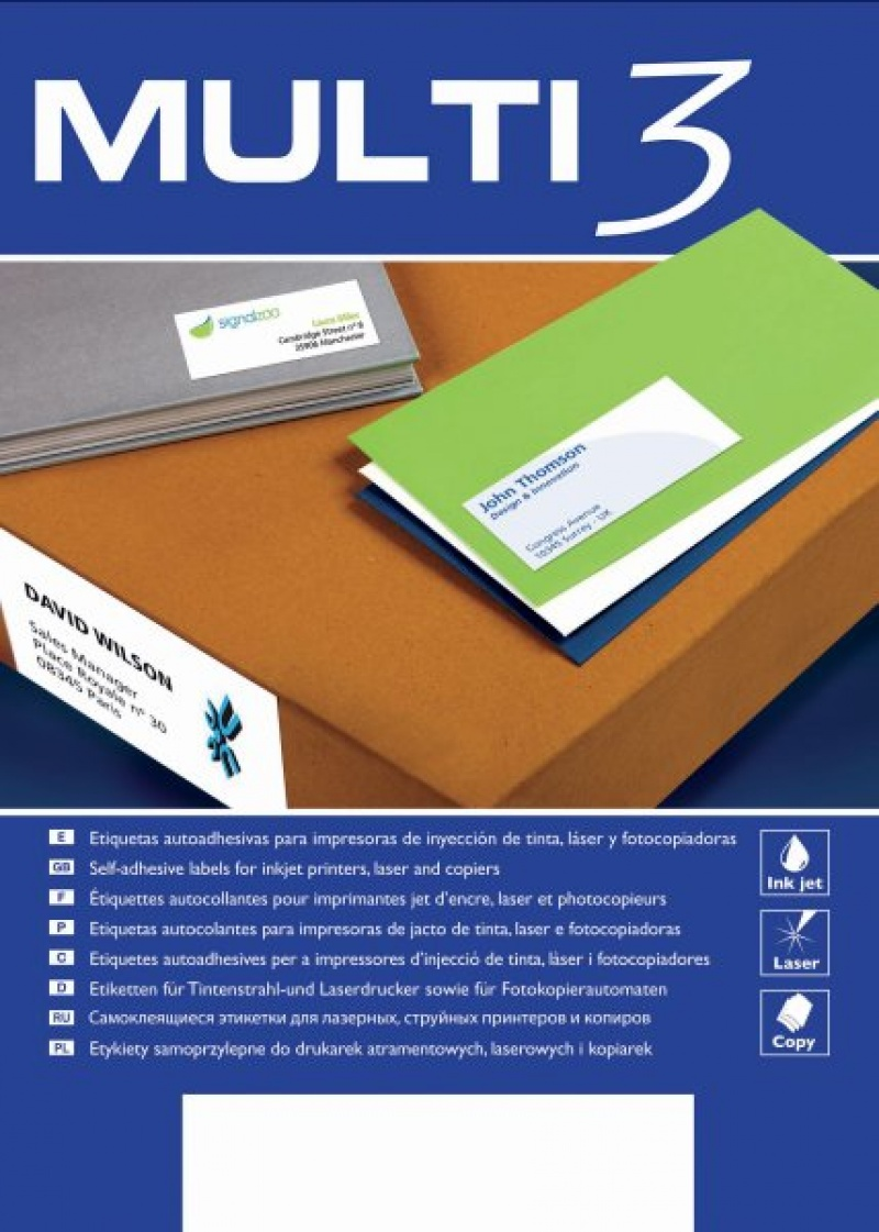Etykiety uniwersalne MULTI 3,70x67,7mm, prostokątne, białe 100 ark., Etykiety samoprzylepne, Papier i etykiety
