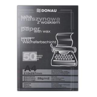 Kalka maszynowa DONAU z woskiem, A4, 50szt., czarna, Kalki, Papier i etykiety