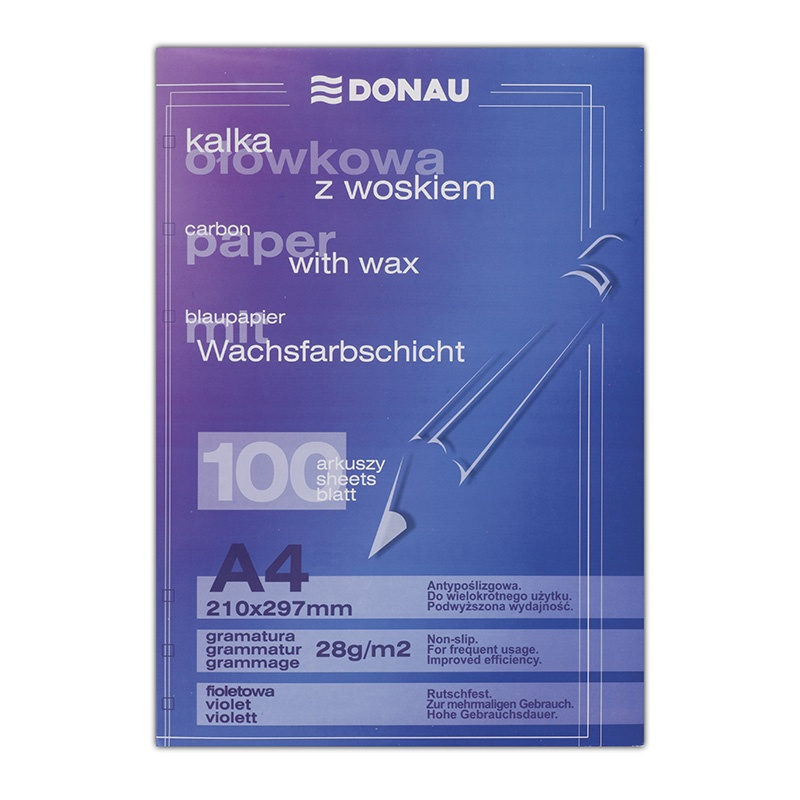 Pencil Carbon Paper DONAU, waxed, A4, 100pcs, violet